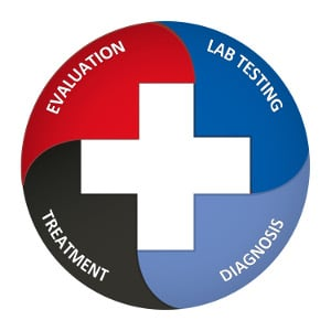 "A circular graphic with the words ""examination, lab testing, diagnosis, and treatment"" written on it. A medical cross is in the center. The Testosterone Replacement Therapy process begins with an evaluation of symptoms. Learn more."