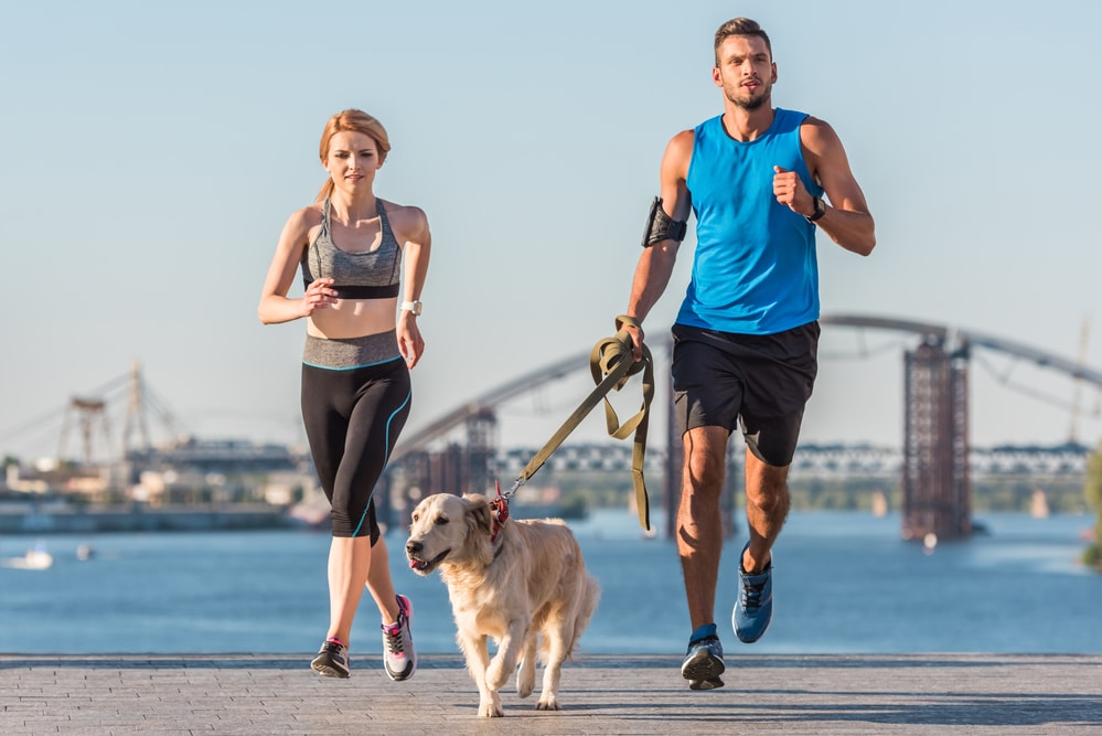 A man and women are running with their leashed dog along a path in Hurst, with a lake and bridge in the background.