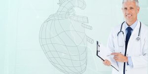 A doctor in a white lab coat holding a clipboard stands in front of a heart diagram. Testosterone and CVD events are connected.